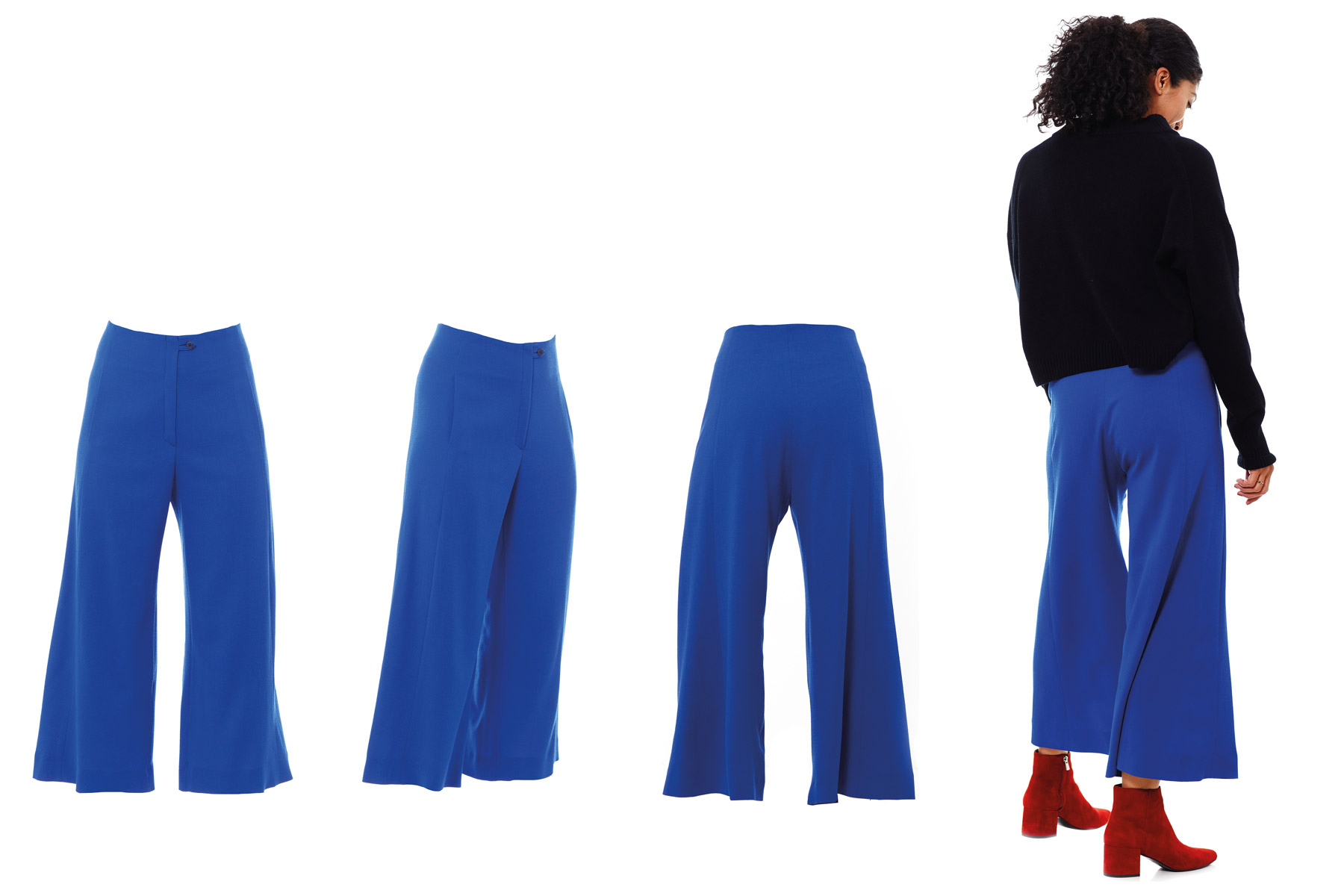 Culotte Georgette königsblau