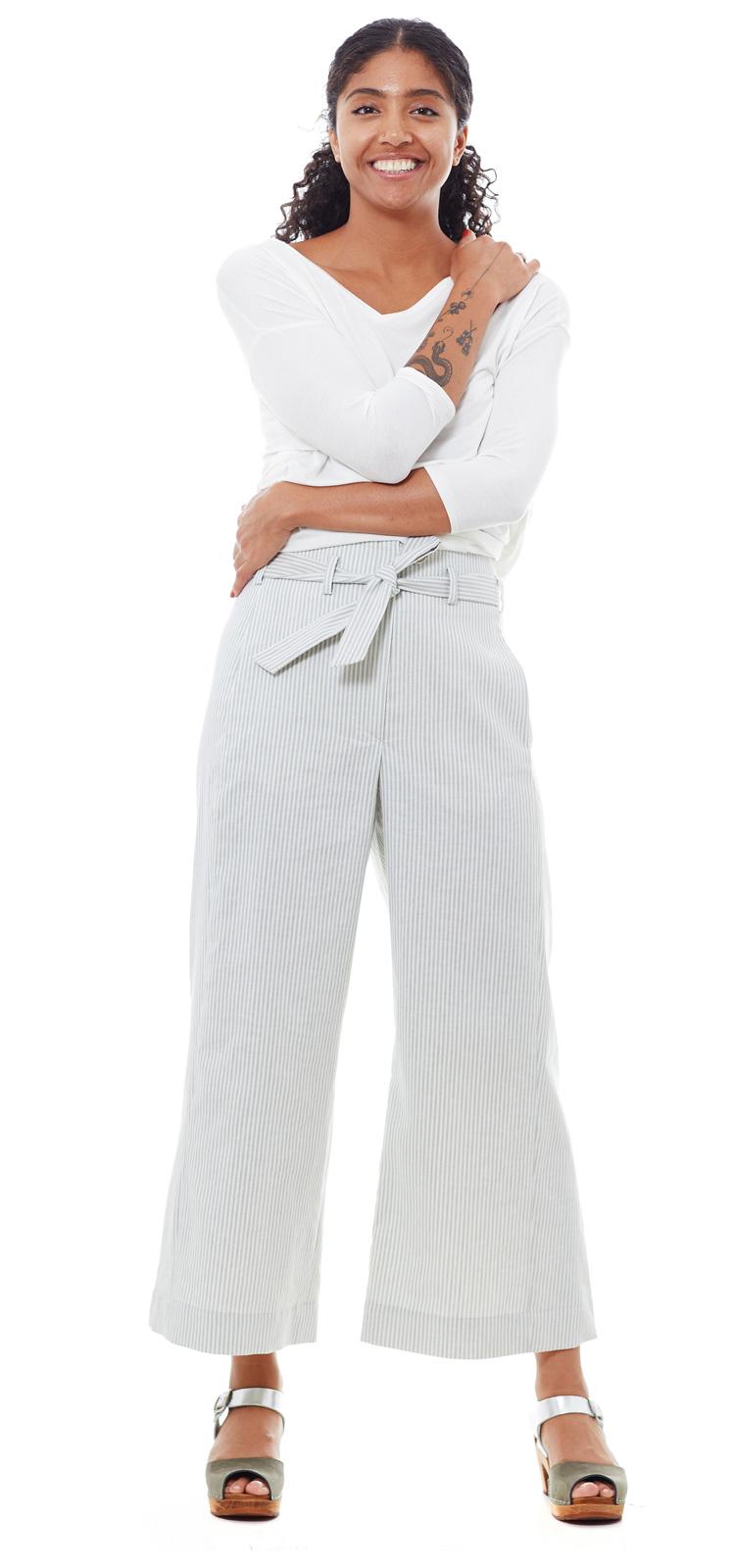 Culotte Streifen grau weiss